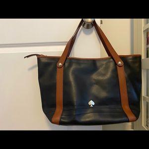 Kate Spade leather tote bag black & brown straps.